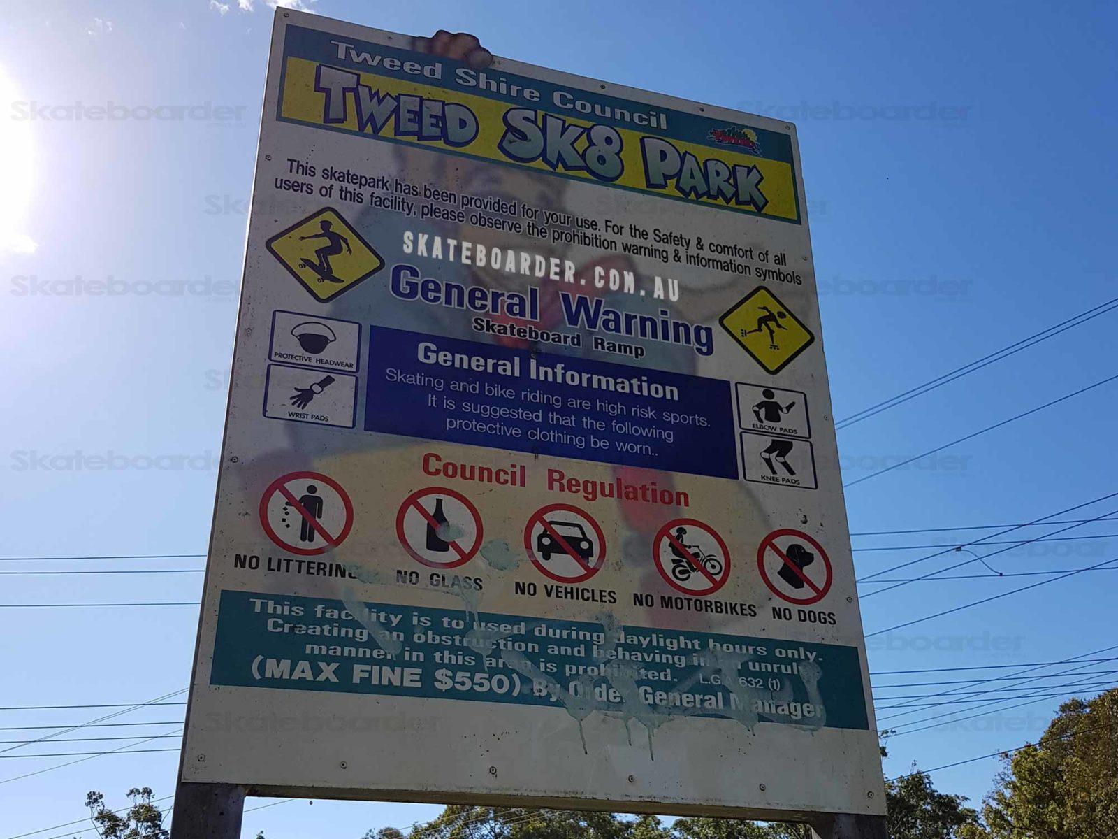Tweed Sk8 Park Sign