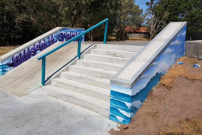 Suffolk Skatepark Stairs, Hubbas and Rail