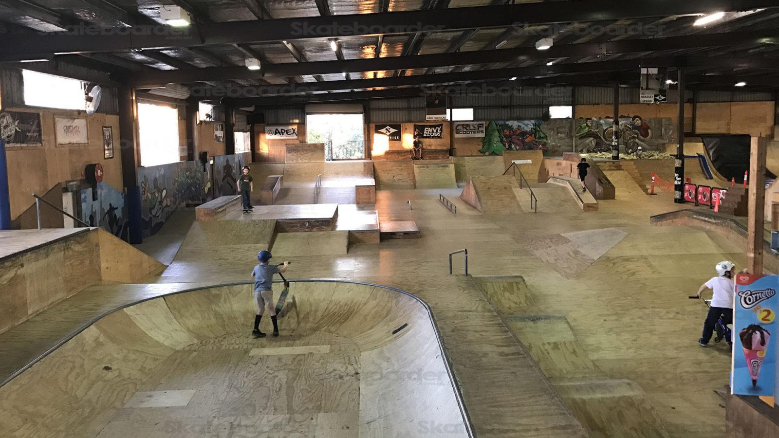 Looking across Rampattak Indoor Skatepark