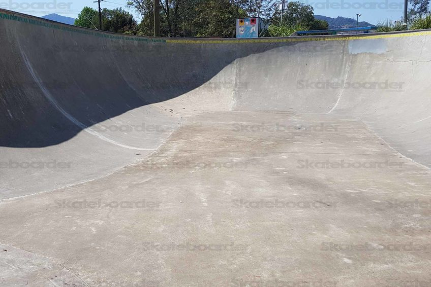 Inside the big bowl at Nimbin Skatepark