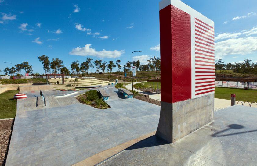 Looking back across Flagstone Skate Plaza
