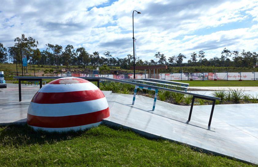 Down rails at Flagstone Skate Plaza