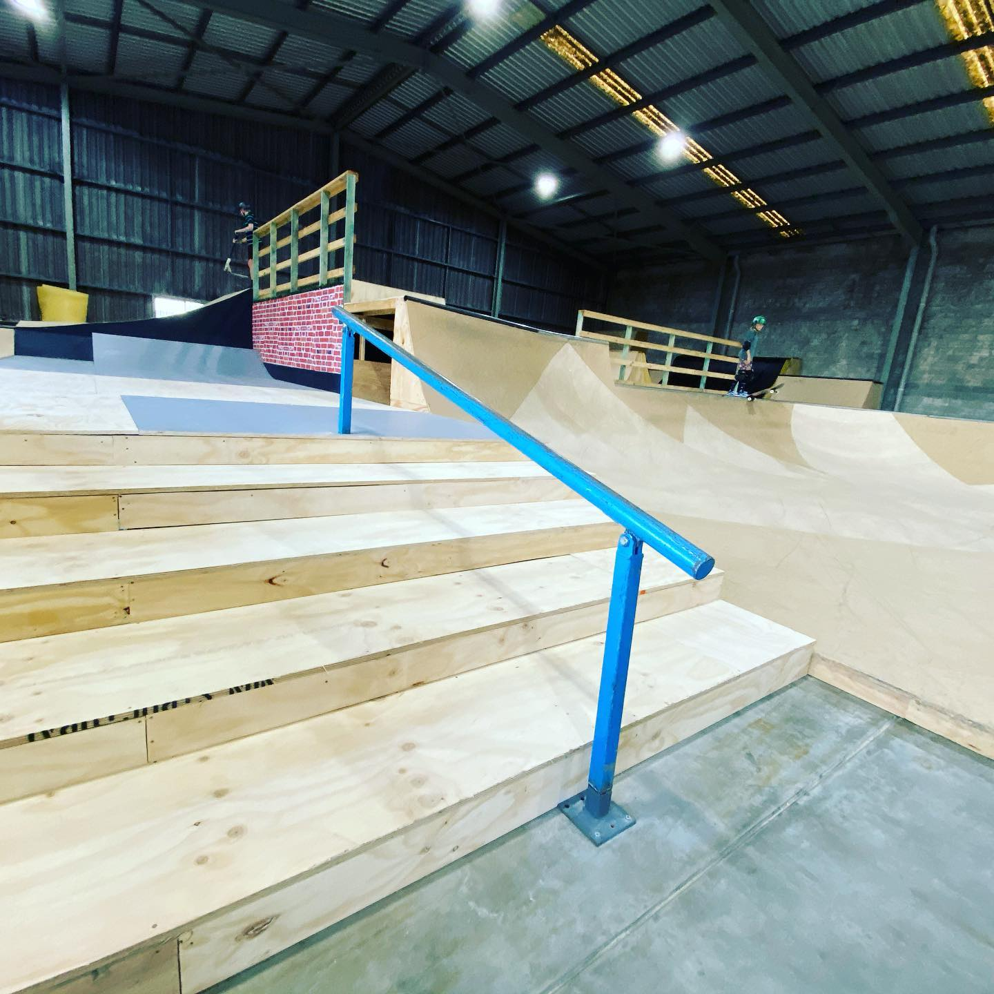 Rail and stairs at the indoor skatepark