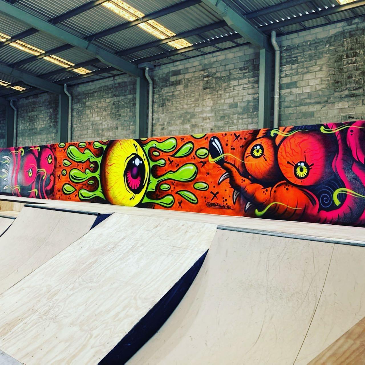 Quarters, banks and graffiti at Level Up Skatepark
