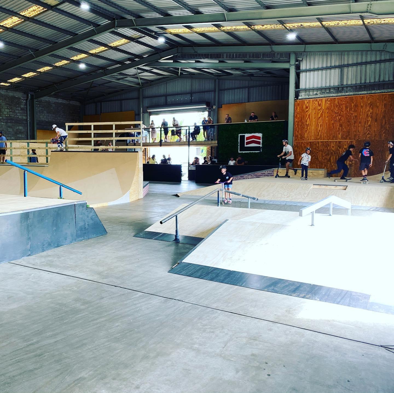 Looking across Level Up Skatepark